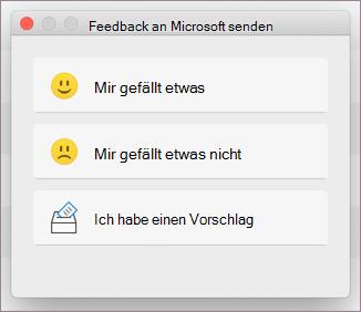 """Dialogfeld """"Feedback"""" für MacOS"""