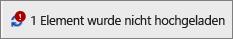 """Statusfeld mit Anzeige """"Upload fehlgeschlagen"""""""