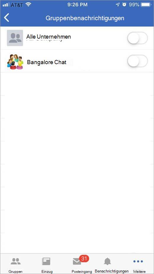 iOS Jammer Seite zum Auswählen von Gruppen zum Empfangen von Benachrichtigungen