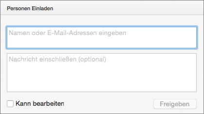 """PowerPoint für Mac-Freigabeoptionen, """"Einladen"""""""
