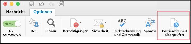 Screenshot der Benutzeroberfläche in Outlook zum Öffnen der Barrierefreiheitsprüfung