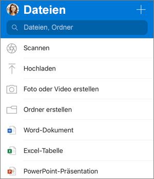 """Screenshot des Menüs """"Hinzufügen"""" in der OneDrive-App für iOS"""