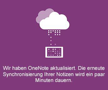 """Bildschirm """"Synchronisieren"""" in OneNote für Android"""