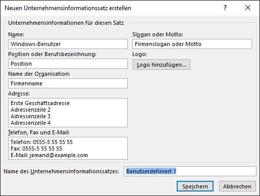 """Screenshot des Dialogfelds """"Neuen Unternehmensinformationssatz erstellen"""""""