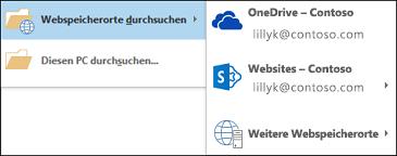 Durchsuchen von Webadressen in Outlook