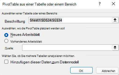 """Dialogfeld """"PivotTable erstellen"""" in Excel für Windows mit dem ausgewählten Zellbereich und den Standardoptionen"""