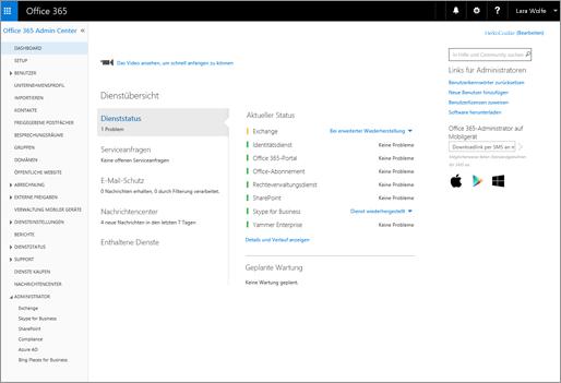 Beispiel für das Office 365 Admin Center, wenn Sie über einen Skype for Business Online-Plan verfügen