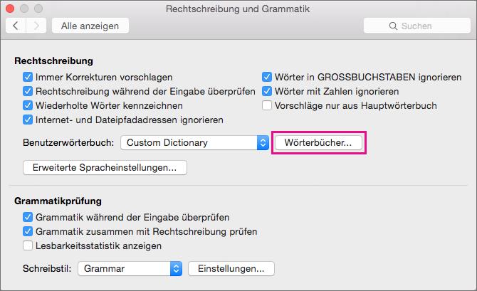 """Klicken Sie in """"Rechtschreibung und Grammatik"""" auf """"Wörterbücher"""", um festzulegen, welche Wörterbücher Word beim Überprüfen der Rechtschreibung verwendet."""