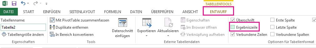 """Die Option """"Ergebniszeile"""" befindet sich auf der Registerkarte """"Entwurf""""."""