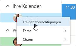 """Screenshot des Kontextmenüs """"Ihr Kalender"""", in dem """"Freigabeberechtigungen"""" ausgewählt ist."""