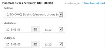 Benutzerdefinierte Zeitspanne in einer neuen Nachrichtenablaufverfolgung im Office 365 Security & Compliance Center