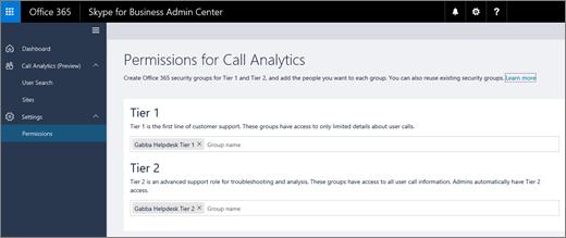 """Der Screenshot zeigt die Berechtigungen für die Seite """"Call Analytics"""" (Anrufanalyse) mit den Optionen für Berechtigungen der Stufen1 und2."""