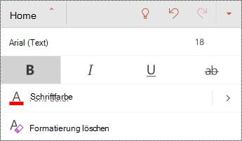 """Menü """"Schriftart"""" in PowerPoint für Android."""
