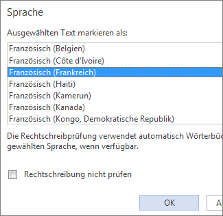 """Abbildung der Liste """"Sprache"""" der Option """"Sprache für die Korrekturhilfen festlegen"""" in Word Web App"""