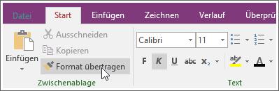 """Screenshot der Schaltfläche """"Format übertragen"""" in OneNote 2016"""