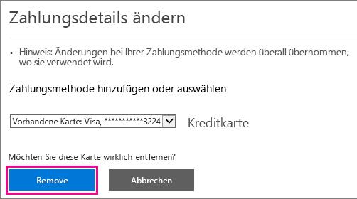 Entfernen Sie die Schaltfläche für die Kreditkarte im Office 365 Admin Center.