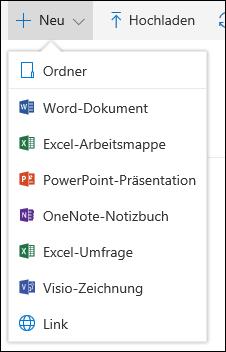 Erstellen einer neuen Datei in einer Dokumentbibliothek in Office365