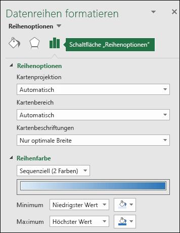 """Excel-Kartendiagramm, Aufgabenbereich """"Objekt formatieren"""", Reihenoptionen"""