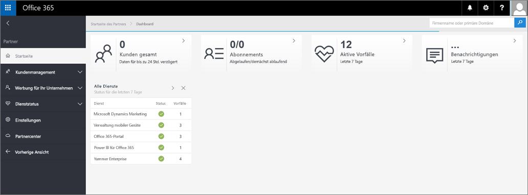 Der neue Look des Admin Centers für Partner