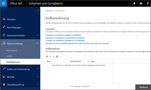 """Seite """"Aufbewahrung"""" im Office 365 Security & Compliance Center"""