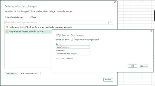 """Excel Power BI, Verbesserungen an """"Datenquelleneinstellungen"""""""