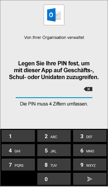 PIN für Outlook-App in Android festlegen