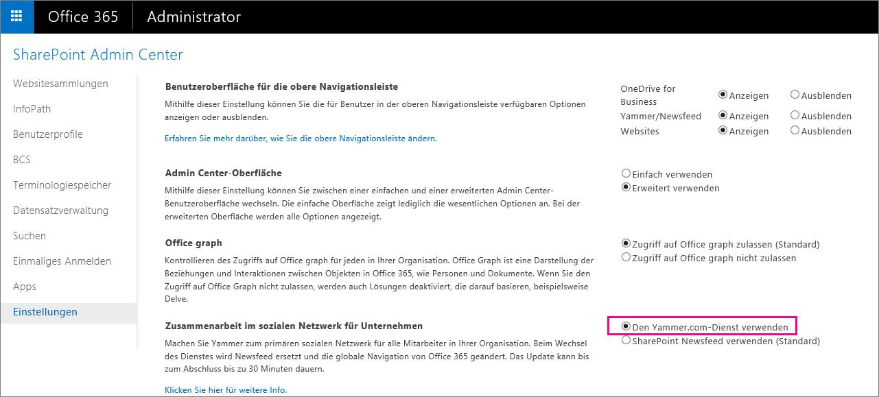 """SharePoint Admin Center mit der Diensteinstellung """"Benutzer Yammer.com"""""""