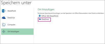 Option 'Auf OneDrive speichern'