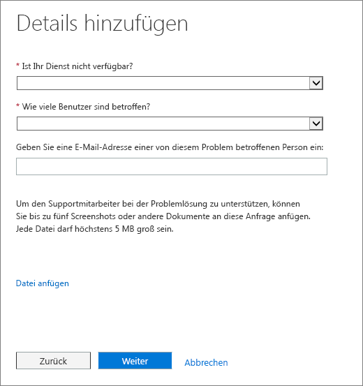 Das Hinzufügen Detailseite in Office 365 Admin Center Serviceanfrage Form.