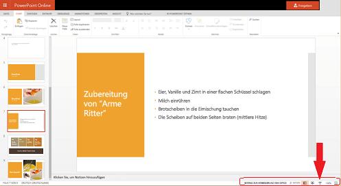 """Um die Bildschirmpräsentation ab der aktuellen Folie zu starten,  klicken Sie auf die Schaltfläche """"Bildschirmpräsentation"""" in der unteren rechten Ecke des Browsers."""