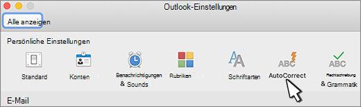 Outlook für Mac-Schaltfläche ' AutoKorrektur '
