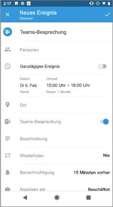 """Seite """"neues Ereignis"""" mit aktivierter Option """"Teams Besprechung"""""""