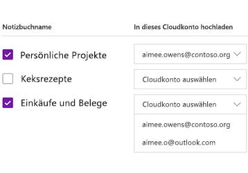 Hochladen von Notizbüchern in ein Cloudkonto
