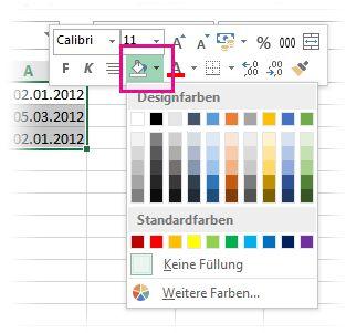Mit der rechten Maustaste klicken, um Zellen eine Füllfarbe hinzuzufügen