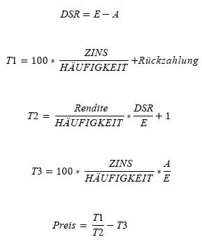 Formel PREIS, wenn N <= 1