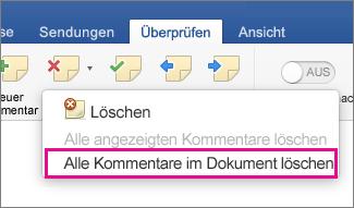 """Auf der Registerkarte """"Überprüfen"""" ist """"Alle Kommentare im Dokument löschen"""" hervorgehoben"""
