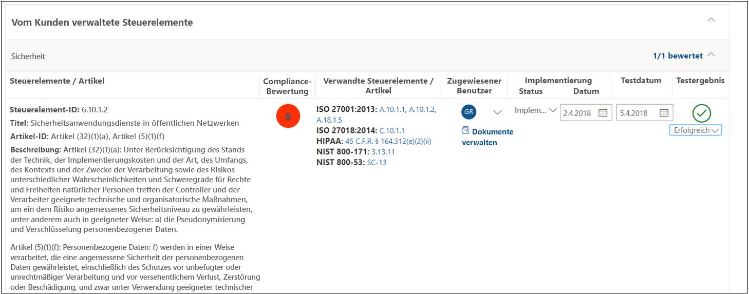 Compliance-Manager – Bewertungssteuerelement für DSGVO 6.10.1.2. – bestanden