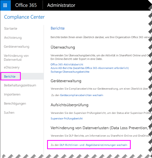 "Seite ""Berichte"" im Office 365 Security & Compliance Center"