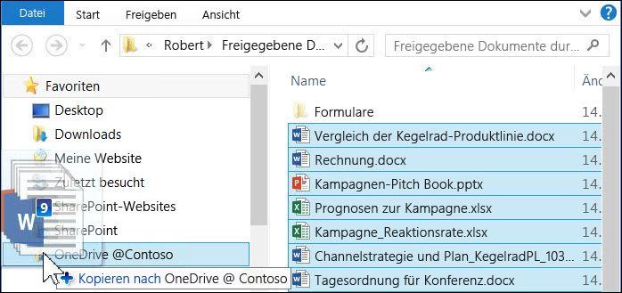 Ziehen Sie Dateien auf Ihren synchronisierten OneDrive for Business-Ordner, um sie hochzuladen.