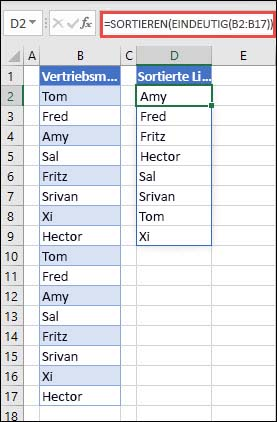 """Verwenden von """"EINDEUTIG"""" mit """"SORTIEREN"""", um eine Liste mit Namen in aufsteigender Reihenfolge zurückzugeben"""
