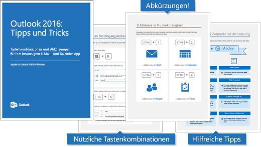 """Deckblatt des E-Books """"Outlook 2016: Tipps und Tricks"""" und Seiten mit einigen Tipps"""