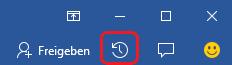 """Die Schaltfläche """"Aktivität"""" befindet sich in Word, Excel und PowerPoint am rechten Ende des Menübands."""