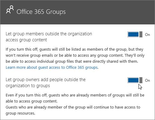 Dieser Screenshot bildet den Office 365 Groups-Bereich mit den aktivierten Optionen für den Zugriff von Gruppenmitgliedern außerhalb der Organisation auf Gruppeninhalte sowie für das Hinzufügen von Personen außerhalb der Organisation zu Gruppen durch Gruppenbesitzer ab.