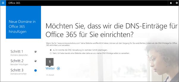 """Wählen Sie """"Weiter"""" aus, wenn in Office 365 DNS-Einträge eingerichtet werden sollen"""