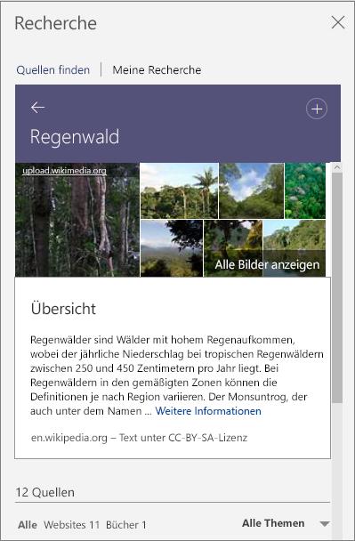 """Bereich """"Recherche"""" mit den Suchergebnissen zu """"Regenwald"""""""