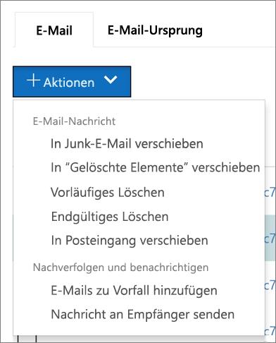Wenn Sie eine oder mehrere e-Mail-Nachrichten auswählen, können Sie auf mehrere verfügbaren Aktionen auswählen.