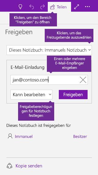 Screenshot der Freigabe eines gesamten Notizbuchs in OneNote