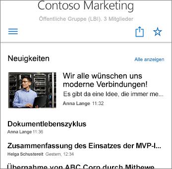 Team-Nachrichten auf der Website – Screenshot
