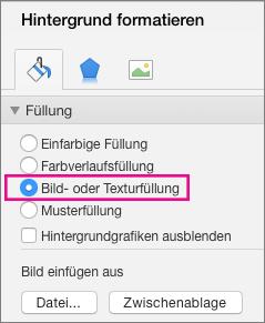 """PowerPoint für Mac, """"Hintergrund formatieren"""""""
