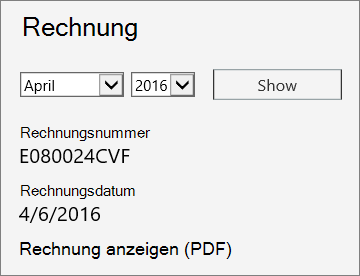 """Screenshot des Abschnitts """"Rechnung"""" auf der Seite """"Rechnungsdetails"""" im Office 365 Admin Center."""